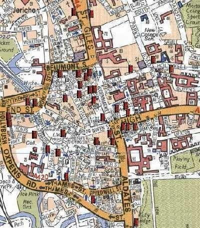 Map Of Uk Pubs.Central Oxford Pubs